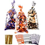 Fashionclubs Halloween Cellophane Treat Bags, 150pcs Halloween Cello Candy Bags Plastic Cookie Bags Trick or Treat Goody Bags