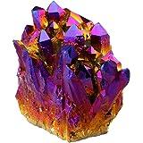 rockcloud Natural Titanium Coated Crystal Quartz Purple Cluster Geode Druzy Home Decoration Gemstone Specimen