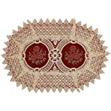 (Oval 12 46cm, Set of 6) - Vintage Look Burgundy Lace Table Placemats Doilies, Oval 30cm by 46cm, Set of 6