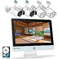 【最新IPS一体型・AI人感発光】 YESKAMO 防犯カメラ 屋外 wifi Super HD 300万画素 12型モ…