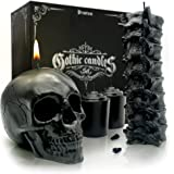 Skull & Spine Candle Set - Goth Gift Box for Realistic Occult Decor - Charming Scent & Free Moon Calendar - Black Candles for