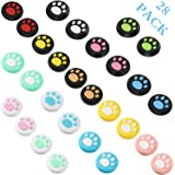 28 Pieces Replacement Cute Cat Claw Design Thumb Grip Caps Thumb Grips Analog Stick Cover Joystick Cap Soft Silicone Cover Co