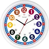Tinload Telling Time Teaching Clock, 10 inch Silent Movement Analog Learning Clock for Kids, Perfect Room & Wall Decor for Cl