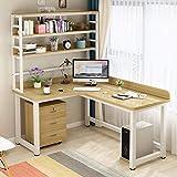 L Shaped Desk with Bookshelf, Corner Computer Desk Home Office Desk with Storage Shelf, Gaming Table Workstation, Modern Work