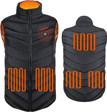 (黒-M)加熱服 加熱ベスト USB充电電熱ベスト 5個の更に力強い急速加熱大型加熱パネル、3段階の温度調整、暖かい 軽い 男女通用、洗える、防寒、秋と冬、登山 釣り スキー(モバイル電源なし、サイズは中型サイズのボディタイプ着用に適しています!)
