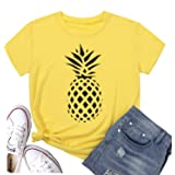 Hellopopgo Pineapple Printed Funny Casual T Shirt Women's Summer Fruits Lover Short Sleeve Tops Tee Blouse Girl