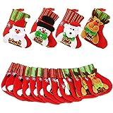 "Dreampark Mini Christmas Stocking, (16 Pack) Xmas Stocking Christmas Tree Ornaments Decorations 6"" - Santa Snowman Reindeer B"