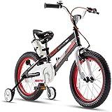 Royalbaby Boys Girls Kids Bike Space No.1 Steel Cycle 3-9 Years 14 16 18 Inch Bike Training Wheels Kickstand Black Red Child'