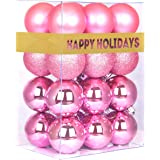 """GameXcel Christmas Balls Ornaments for Xmas Tree - Shatterproof Christmas Tree Decorations Perfect Hanging Ball Pink 1.6"""" x 2"""