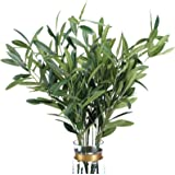5pcs Artificial Olive Leaves Stems 37' Tall with 72 Leaves Fake Eucalyptus Plant Branches for Floral Arrangement Vase Bouquet