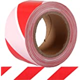 KINGPLAST Red White Hazard Warning Safety Stripe Caution Tape, 2.8 Inch by 660ft Non-Adhesive Barrier Tape for Danger Constru
