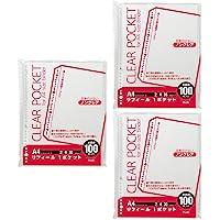 プラス リフィル 透明 A4 1ポケット 2・4・30穴 300枚 100枚×3 87-600×3