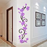 DIY 3D Flower Wall Sticker Removable Vinyl Quote Decal Mural Home Room Decor Art (Purple)