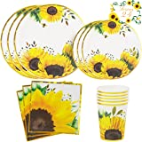 YARA Sunflower Party Decorations Tableware Set with Paper Plates, Cups & Napkins | Yellow Party Supplies For Birthday, Baby S