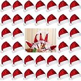 Biubee 36 Pcs 1'' Christmas Mini Red Santa Hats- Lollipop Bottle Candy Cover Cap Santa Claus Hats for Christmas Party Decor D