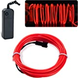 lychee EL Wire Neon Glowing Strobing Electroluminescent Light El Wire for Parties, Halloween Decoration (Red, 15ft)