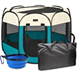 Autokcan Portable Foldable Pet Playpen, Water Resistant Dog Playpen Indoor/Outdoor Use Kennel Tent with Carrying Case and Tra