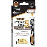 BIC Flex 5 Hybrid Men's 5-Blade Disposable Razor Shaving Kit, 1 Handle and 6 Cartridges