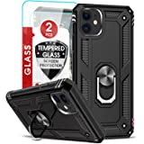 LeYi iPhone 11 Case with Tempered Glass Screen Protector [2 Pack], Military Grade Armor Phone Cover Case with Ring Magnetic C