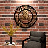 24In Vintage Clock,Handmade 3D Retro Rustic Decorative Luxury Art Big Gear Wooden Vintage Large Wall Clock on The Wall for Gi