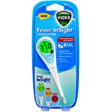 Vicks Fever Insight Thermometer | Fast Temperature Reading in 8 Seconds, Large Colour Changing Display, Gentle and Easy to Us