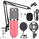 AUSELECT USB Streaming Podcast PC Microphone Pink, SUDOTACK Professional 96KHZ/24Bit Studio Cardioid Condenser Mic Kit with S