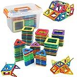 rui yue マグネットブロック 磁気おもちゃ マグネットおもちゃ 磁石ブロック 磁石玩具 おもちゃ 90PCS正方形45×個 三角形×45個 6歳以上の子供が遊ぶのに適しています。