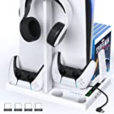 OIVO Vertical Stand with Controller Charging Station & Suction Cooling Fan,Dual Controller Charger Station,PS5 Gaming Accesso