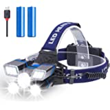 Rechargeable Headlamp, Fastras 13000 Lumen 21 LED Headlamp Flashlight with White Red Strobe Lights, 9 Modes USB Rechargeable