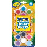 CRAYOLA 54-0125 Kids Poster Paint, 18 Coloured Mini Pots of Washable Paint, Paint Brush Included, Vivid Colours, Great for Ar