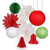 Christmas Hanging Paper Lanterns Set Decorative Lantern Lamps Christmas Santa Hats Christmas Honeycomb Bells Snowflake Fan fo