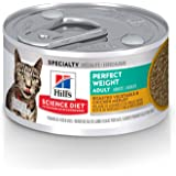 Hill's Science Diet Canned Wet Cat Food, Adult, Perfect Weight for Weight Management, Roasted Vegetable & Chicken Recipe, 2.9