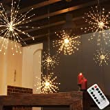 PXB 200LED Hanging Lights, Battery Operated Starburst Lights, 8 Modes Dimmable Remote Control, Waterproof Fairy Lights, Coppe