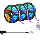 50ft LED Strip Lights,OxyLED 15Meter 450LED Flexible RGB 5050 Color Changing Rope Lights with 20 Keys IR Remote Controller, L