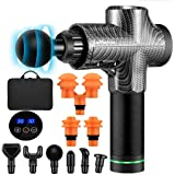 30 Speed Handheld Cordless Fascia Massage Gun, Portable Deep Tissue Percussion Muscle Massager for Relief Muscle Pain + Carry