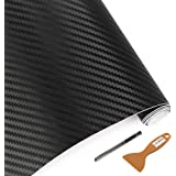 LZLRUN 3D Carbon Fiber Vinyl Wrap - Outdoor Rated for Automotive Use - 12 inches x 60 inches Contain Knife and Hand Tool (Bla