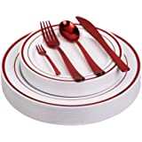 125pcs Disposable Plastic Plates and Cutlery Set/Party Tableware - Including 25 Red Trim Dinner Plates, 25 Salad or Dessert P