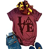 Women's Love Letter Graphic Tshirt Harry Potter T Shirts Casual O-Neck Funny Tops Tees