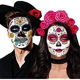Day of the Dead Face Skeleton Tattoos/Dia De Los Muertos, Halloween Temporary Sugar Skull Costume Makeup Tattoos for Women/Me