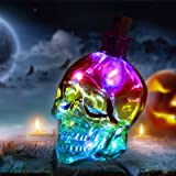 3D Glass Skull Lights, Skeleton Crafts with Battery Operated Cool White Copper Wire Cork Lamp for Halloween Party Home Decor,