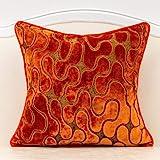 Yangest Burnt Orange Velvet Geometric Square Throw Pillow Cover Wavy Line Cushion Case Modern Zippered Pillowcase for Sofa Co