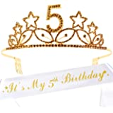 5th Birthday Gifts for Girl, 5th Birthday Tiara and Sash Gold, HAPPY 5th Birthday Party Supplies, It's My 5th Birthday Sash a