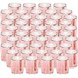 SUPREME LIGHTS ·2017· NEWLIGHTURE Votive Candle Holders Set of 48, Mercury Glass Tealight Holders Bulk, Speckled Rose Gold, f