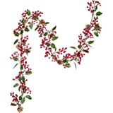 Lvydec Red Berry Garland Christmas Decoration - 7ft Artificial Red Berry Garland with Pine Cone and Green Leaves for Holiday