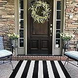 Black and White Striped Outdoor Rug 30x 46 inches Front Door Mat Hand-Woven Cotton Indoor/Outdoor for Layered Door Mats,Welco