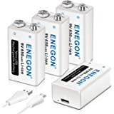 ENEGON 9V Direct USB Rechargeable Lithium-ion 650mAh Batteries with 2 in 1 Micro USB Cable for Micro Phone, Smoke Alarms, Ele