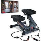 Women's Health Men's Health Bluetooth Cardio Stair Stepper with Adjustable Resistance Bands and with MyCloudFitness App