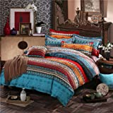Omelas Bohemian Duvet Cover Set Queen Boho Tribal Striped Patchwork Reversible Printing Bedding Set Soft Hypoallergenic Micro
