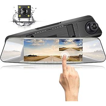 ドライブレコーダー 前後カメラ ミラー ドラレコ 駐車監視 車載カメラ バックミラー型 7インチ フルHD1080P 1200万画素 170度広角 リアカメラ Gセンサー搭載 Jeemak 【1年保証-安心】