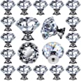 25 pcs Glass Cabinet Knobs Crystal Drawer Pulls Clear 30 mm Diamond for Kitchen, Bathroom Cabinet, Dresser and Cupboard by De